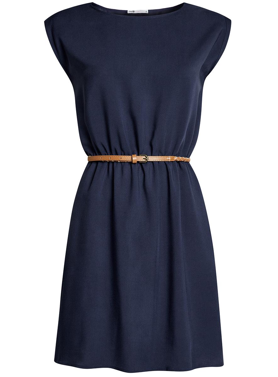 Платье oodji Ultra, цвет: темно-синий. 11910073B/26346/7900N. Размер 38-170 (44-170)11910073B/26346/7900NПлатье oodji Ultra, выгодно подчеркивающее достоинства фигуры, выполнено из легкой струящейся ткани. Модель мини-длины с круглым вырезом горловины и короткими рукавами дополнена двумя прорезными карманами на юбке.В комплект с платьемвходит узкий ремень из искусственной кожи с металлической пряжкой.