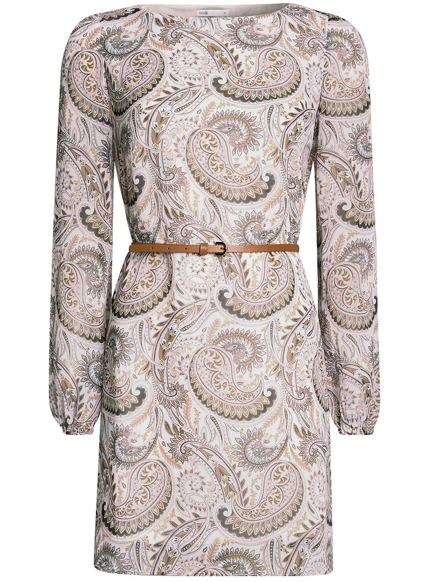 Платье oodji Ultra, цвет: коричневый, бежевый. 11900150-9B/19538/3733E. Размер 36-170 (42-170)11900150-9B/19538/3733EСтильное платье oodji Ultra выполнено из полиэстера и оформлено стильным узором. Модель с круглым вырезом горловины и длинными рукавами дополнена узким ремнем из искусственной кожи с металлической пряжкой. Низ рукавов собран на резинку.