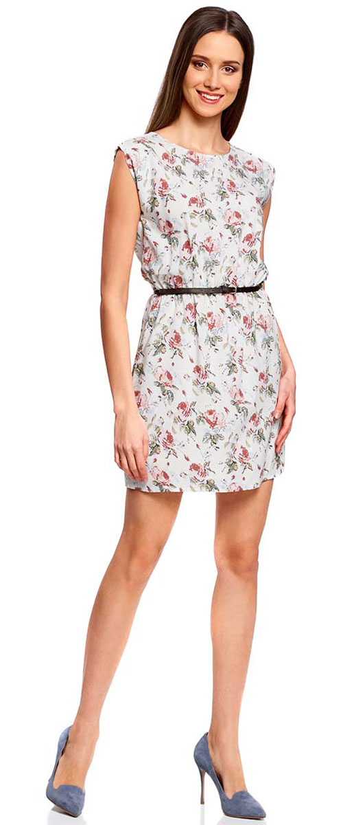 Платье oodji Ultra, цвет: кремовый, розовый. 11910073B/26346/3041F. Размер 40-164 (46-164)11910073B/26346/3041FПлатье oodji Ultra, выгодно подчеркивающее достоинства фигуры, выполнено из легкой струящейся ткани. Модель мини-длины с круглым вырезом горловины и короткими рукавами дополнена двумя прорезными карманами на юбке.В комплект с платьемвходит узкий ремень из искусственной кожи с металлической пряжкой.