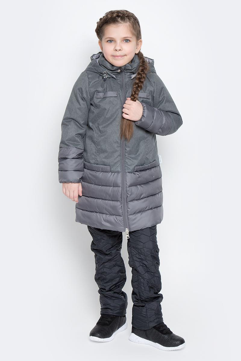Пальто для девочки Boom!, цвет: серый. 70006_BOG_вар.2. Размер 128, 7-8 лет70006_BOG_вар.2Пальто для девочки Boom! изготовлено из полиэстера, подкладка - из полиэстера с добавлением вискозы, утеплитель Flexy Fiber. Модель застегивается на молнию, спереди имеются два глубоких кармана и две декоративные планки. Съемный капюшон пристегивается на пуговицы. Капюшон оснащен резинкой-утяжкой со стопперами. Рукава снизу собраны на резинки.