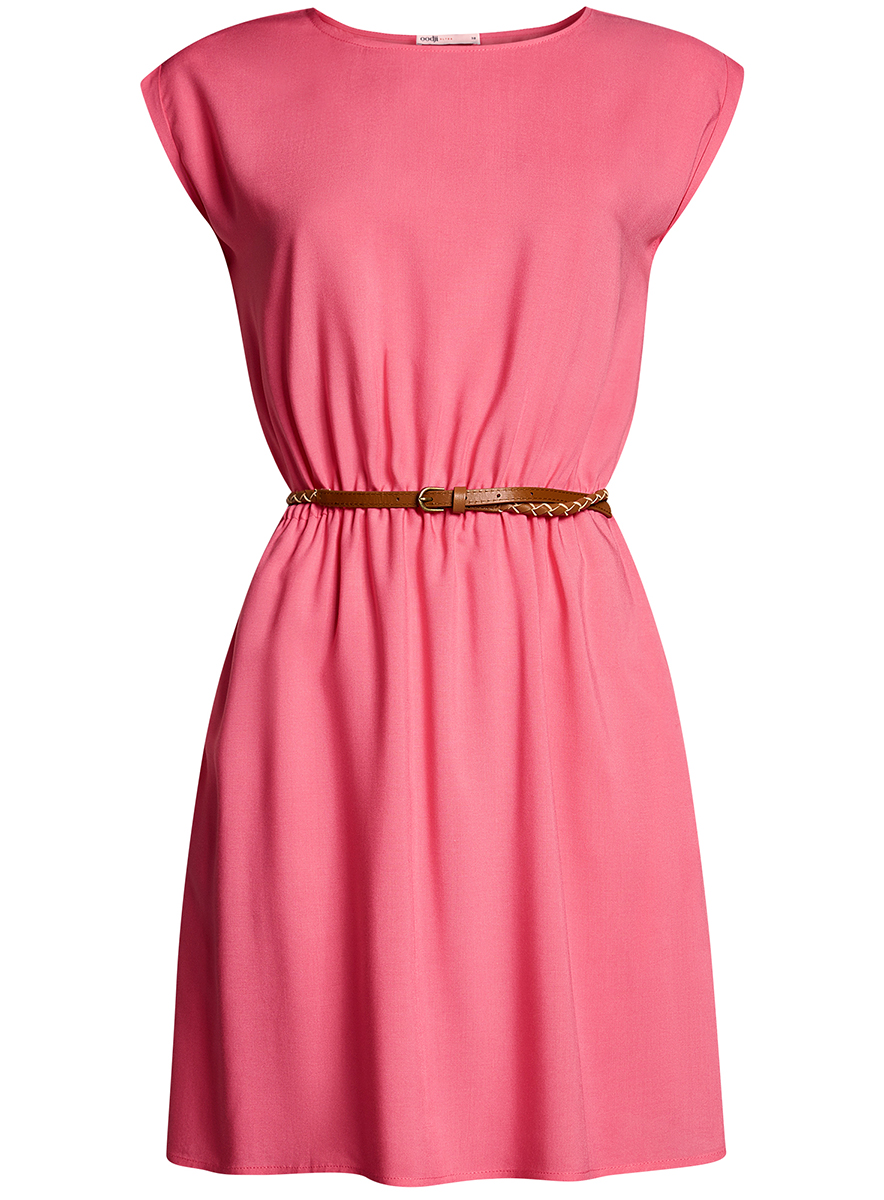 Платье oodji Ultra, цвет: ярко-розовый. 11910073B/26346/4D00N. Размер 40-170 (46-170)  oodji 11411123 26346 7975d