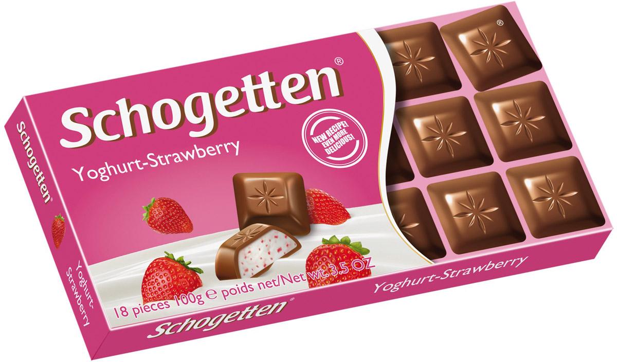 Schogetten Молочный шоколад с начинкой клубничный йогурт, 100 г ritter sport мята шоколад темный с мятной начинкой 100 г