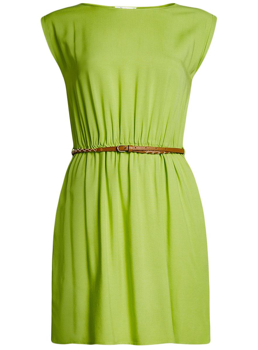 Платье oodji Ultra, цвет: зеленый. 11910073B/26346/6B00N. Размер 42-170 (48-170)11910073B/26346/6B00NПлатье oodji Ultra, выгодно подчеркивающее достоинства фигуры, выполнено из легкой струящейся ткани. Модель мини-длины с круглым вырезом горловины и короткими рукавами дополнена двумя прорезными карманами на юбке.В комплект с платьемвходит узкий ремень из искусственной кожи с металлической пряжкой.