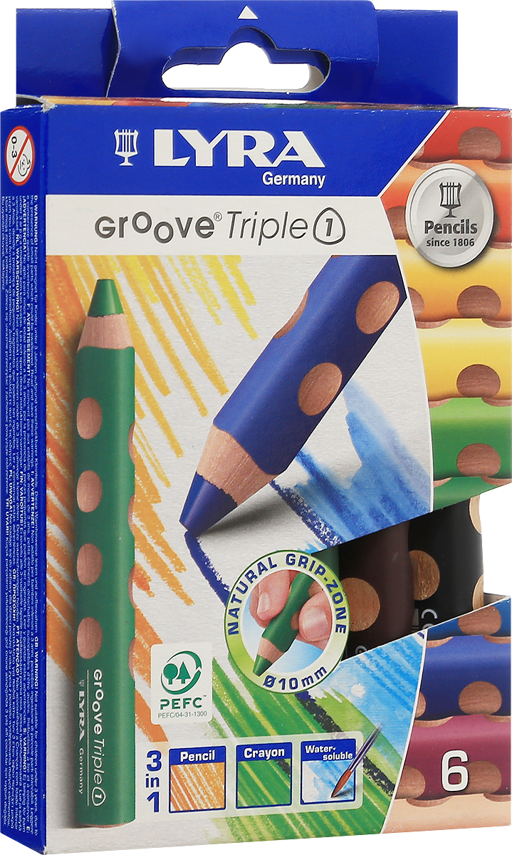 Набор карандашей Lyra 3 в 1 Triple One, 6 цветовAV-PNC04Цветные карандаши 3 в 1 Lyra Triple One непременно, понравятся вашему юному художнику. Набор включает в себя 6 ярких насыщенных цветных карандаша 3 в 1: цветной карандаш, акварельный карандаш, восковый мелок. Имеют утолщенную треугольную форму с эргономичным захватом. Идеально подходит для раннего развития ребенка. Карандаши изготовлены из натурального сертифицированного дерева, экологически чистые. Имеют ударопрочный неломающийся высокопигментный грифель, не требующий сильного нажатия и легко затачиваются. Порадуйте своего ребенка таким восхитительным подарком! В комплекте: 6 карандашей 3 в 1.