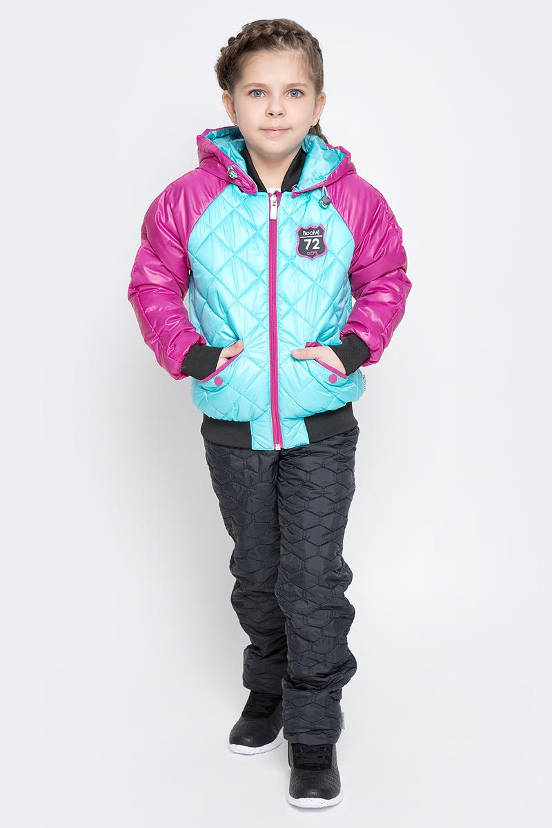 Куртка для девочки Boom!, цвет: бирюзовый, фуксия. 70005_BOG_вар.1. Размер 86, 1,5-2 года70005_BOG_вар.1Удобная куртка для девочки Boom! изготовлена из полиэстера с тонким слоем утеплителя Flexy Fiber. Куртка застегивается на пластиковую застежку-молнию. У модели предусмотрены два прорезных кармана на металлических кнопках. Капюшон съемный, пристегивается на пуговицы. Капюшон оснащен резинкой-утяжкой со стопперами. Перед и спинка декорированы нашивками с логотипом бренда. Воротник, манжеты рукавов и низ куртки выполнены из эластичного трикотажного полотна.
