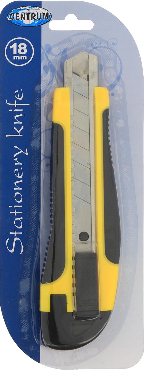 Нож канцелярский Centrum, профессиональный, 16 см80936Канцелярский нож Centrum предназначен для работы с бумагой, плотным картоном, пленкой и другими материалами. Корпус ножа выполнен из пластика с металлическими направляющими, исключающими перекос и выпадение лезвия в процессе интенсивного использования. Многосекционное лезвие изготовлено из высококачественной стали. Нож оснащен прямоугольным ручным фиксатором и системой блокировки лезвия.