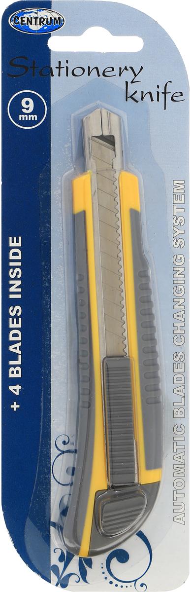 Нож канцелярский Centrum, с лезвиями, 14 см82936Канцелярский нож Centrum предназначен для работы с бумагой, плотным картоном, пленкой и другими материалами. Корпус ножа выполнен из пластика с металлическими направляющими, исключающими перекос и выпадение лезвия в процессе интенсивного использования. Многосекционное лезвие изготовлено из высококачественной стали. Нож оснащен прямоугольным ручным фиксатором и системой блокировки лезвия. В комплекте 4 сменных лезвия.