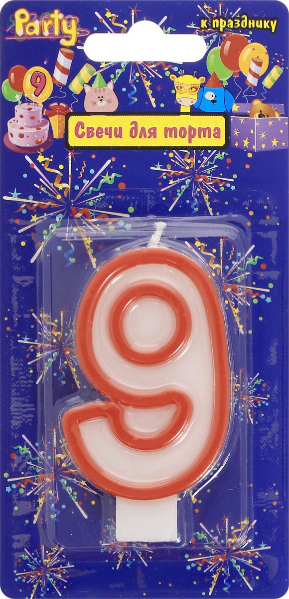 Action! Свеча-цифра для торта 9 лет цвет красный susy card свеча цифра для торта радужная 9 лет