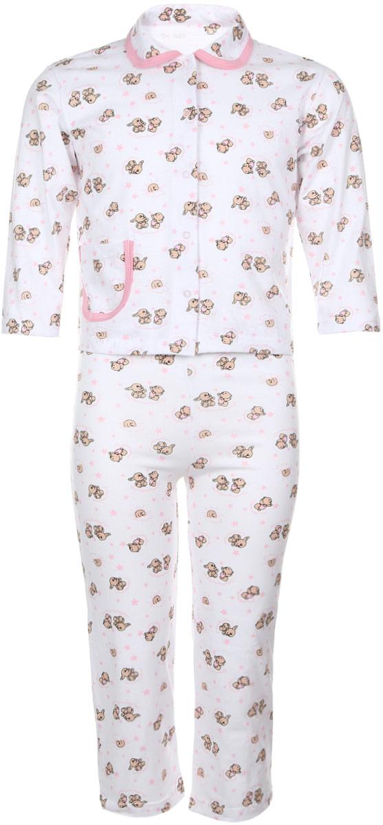 Пижама детская Чудесные одежки, цвет: белый, розовый. 5562. Размер 110/1165562Уютная детская пижама Чудесные одежки выполнена из натурального хлопка. В комплект входит кофточка и брюки. Кофточка с отложным воротником и стандартными длинными рукавами застегивается спереди на кнопки. Дополнена модель накладным карманом. Кармашек и воротник изделия дополнены контрастной хлопковой бейкой.Брюки имеют эластичный пояс.Оформлена пижама интересным принтом с изображением зайчиков.