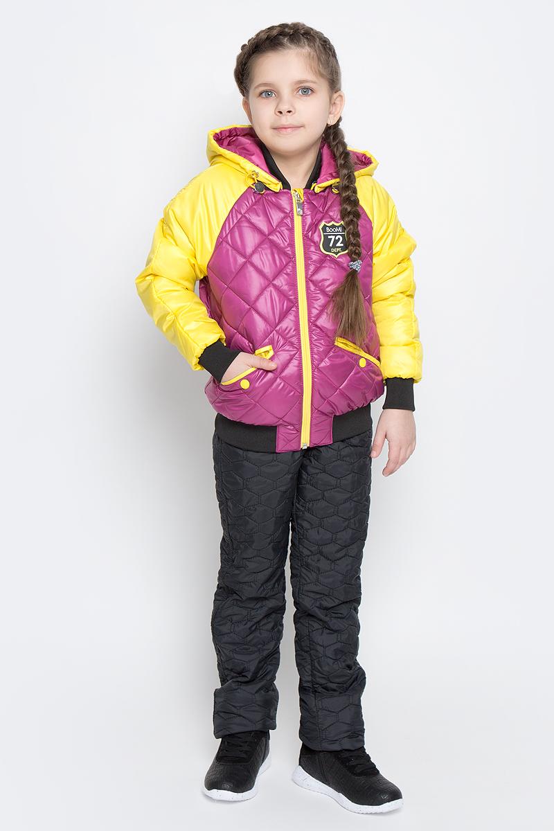 Куртка для девочки Boom!, цвет: сиреневый, желтый. 70005_BOG_вар.2. Размер 98, 3-4 года70005_BOG_вар.2Удобная куртка для девочки Boom! изготовлена из полиэстера с тонким слоем утеплителя Flexy Fiber. Куртка застегивается на пластиковую застежку-молнию. У модели предусмотрены два прорезных кармана на металлических кнопках. Капюшон съемный, пристегивается на пуговицы. Капюшон оснащен резинкой-утяжкой со стопперами. Перед и спинка декорированы нашивками с логотипом бренда. Воротник, манжеты рукавов и низ куртки выполнены из эластичного трикотажного полотна.
