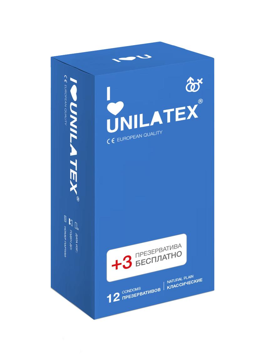 Презервативы Unilatex Natural Plain, 12 шт. + 3 шт. в подарок mister b gun oil h2o lubricant 118 мл лубрикант с алоэ вера