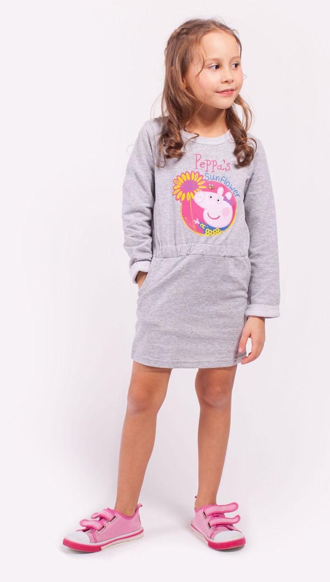 Платье для девочки Free Age Peppa Pig, цвет: серый, розовый. ZG 14179-M1. Размер 92, 2 годаZG 14179-M1Платье для девочки Peppa Pig от Free Age выполнено из эластичной хлопковой ткани. Модель с круглым вырезом горловины и стандартными длинными рукавами, дополненными подворотами. Спереди изделие декорировано ярким принтом и оформлено двумя втачными карманами.