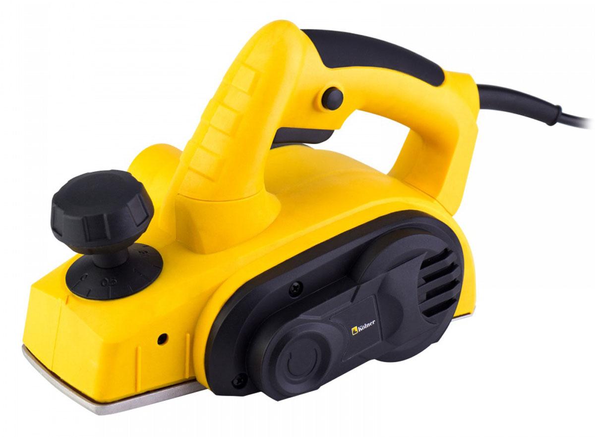 Рубанок электрический Kolner KEP, 710 Вткн710мЭлектрический рубанок Kolner KEP предназначен для строгания плоских поверхностей древесины и строгания кромки при изготовлении элементов деревянных конструкций. Рубанок снабжен параллельным упором, регулирующим ширину обработки материала. Пылеотвод позволяет подключать пылесос или мешок для сбора пыли. V-образный паз, расположенный на подошве изделия, позволяет легко снять фаску под углом 45°.Комбинированная рукоятка одновременно выполняет функции дополнительной рукояти и регулятора глубины строгания. Блокировка кнопки запуска защищает инструмент от случайных включений.- Частота: 50 Гц. - Потребляемая мощность: 710 Вт. - Частота оборотов на холостом ходу: 16000 об/мин. - Ширина строгания: 82 мм.- Глубина строгания: 0-2 мм.- Размеры лезвия: 82 х 5,6 х 1,2 мм.- Выборка четверти: 0-10 мм.- Вес: 2,3 кг.Комплектация: строгальные ножи (запасной комплект), приводной ремень (запасной), параллельный упор, рожковый ключ, шестигранный ключ, мешок для сбора опилок, угольные щетки (запасной комплект), приспособление для выборки четверти.