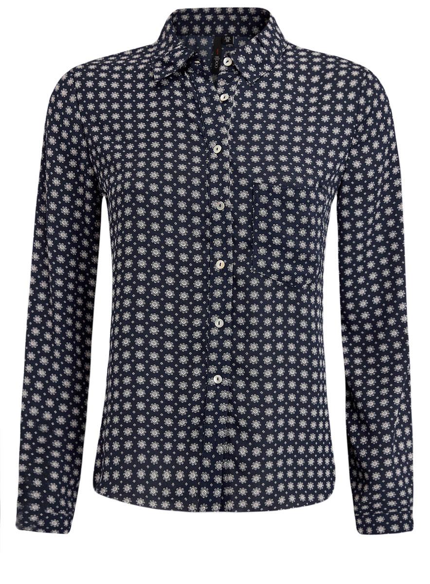 Блузка женская oodji Ultra, цвет: темно-синий, светло-серый. 11400394-5/36215/7920G. Размер 34 (40-170) высокий ватикан тонкой лацкане мода случайные с длинными рукавами рубашки ретро карманные тренды дамы g1170008 синий серый 170 xl