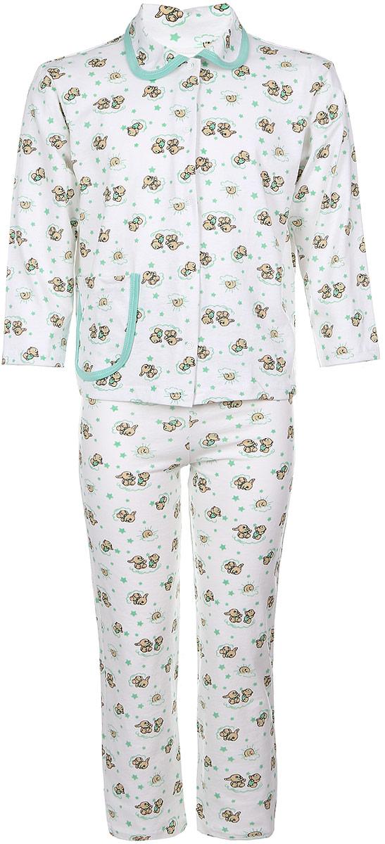 Пижама детская Чудесные одежки, цвет: белый, салатовый. 5562. Размер 86/925562Уютная детская пижама Чудесные одежки выполнена из натурального хлопка. В комплект входит кофточка и брюки. Кофточка с отложным воротником и стандартными длинными рукавами застегивается спереди на кнопки. Дополнена модель накладным карманом. Кармашек и воротник изделия дополнены контрастной хлопковой бейкой.Брюки имеют эластичный пояс.Оформлена пижама интересным принтом с изображением зайчиков.
