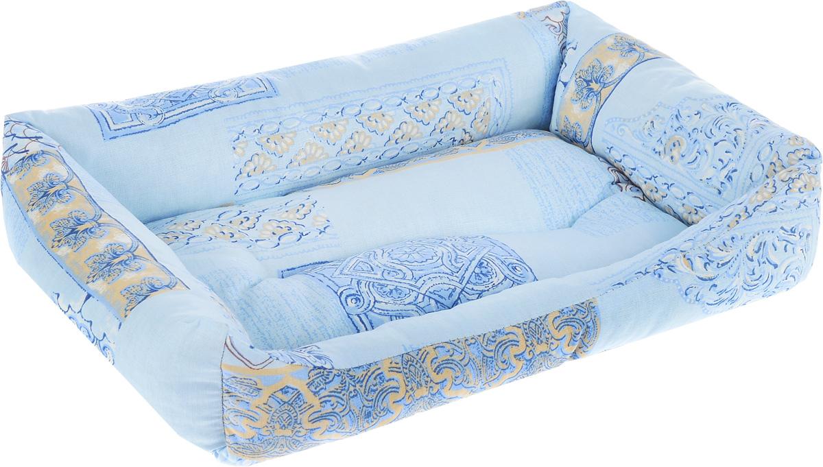 Лежак для животных Elite Valley Пуфик, цвет: голубой, светло-бежевый, 41 х 28 х 13 см лежак для животных elite valley пуфик цвет синий розовый зеленый 90 х 70 х 18 см л 4 5