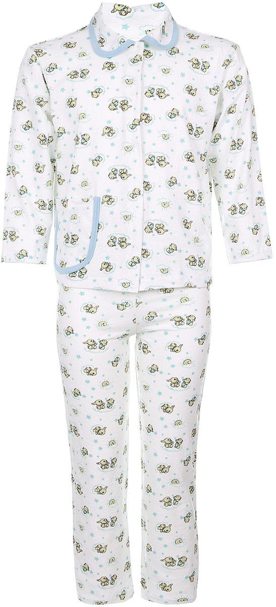 Пижама детская Чудесные одежки, цвет: белый, голубой. 5562. Размер 122/1285562Уютная детская пижама Чудесные одежки выполнена из натурального хлопка. В комплект входит кофточка и брюки. Кофточка с отложным воротником и стандартными длинными рукавами застегивается спереди на кнопки. Дополнена модель накладным карманом. Кармашек и воротник изделия дополнены контрастной хлопковой бейкой.Брюки имеют эластичный пояс.Оформлена пижама интересным принтом с изображением зайчиков.