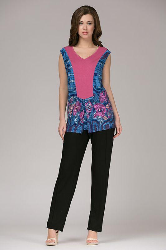 Комплект женский Tesoro: топ, брюки, цвет: лиловый лотос. 334К1. Размер 48334К1Стильный домашний комплект, выполненный из натурального полотна. Короткие брючки на шнурке с втачными карманами. Топ с коротким рукавом.