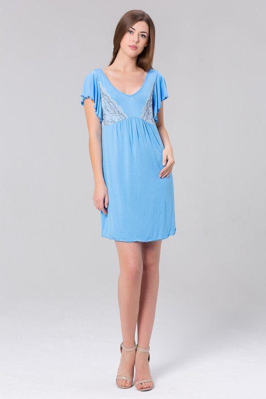 Сорочка женская Tesoro, цвет: голубое сияние. 419С1. Размер 44419С1Короткая ночная сорочка из нежной вискозы.