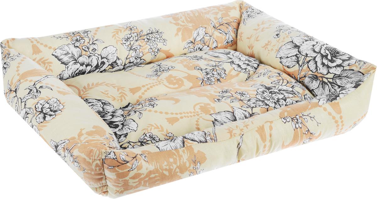 Лежак для животных Elite Valley  Пуфик , цвет: светло-бежевый, коричневый, белый, 51 х 38 х 15 см - Лежаки, домики, спальные места