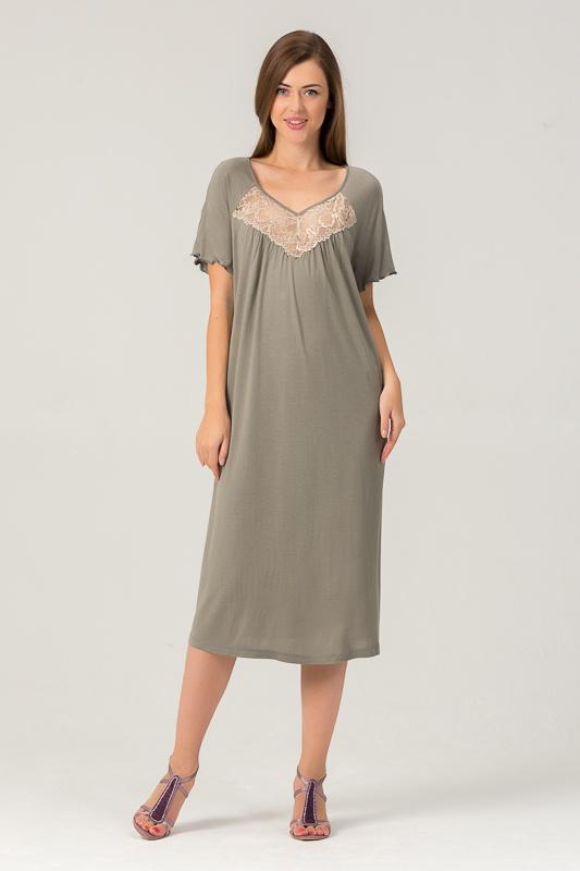 Сорочка женская Tesoro, цвет: оливка. 454С1. Размер 56454С1Женская ночная сорочка из вискозного полотна.