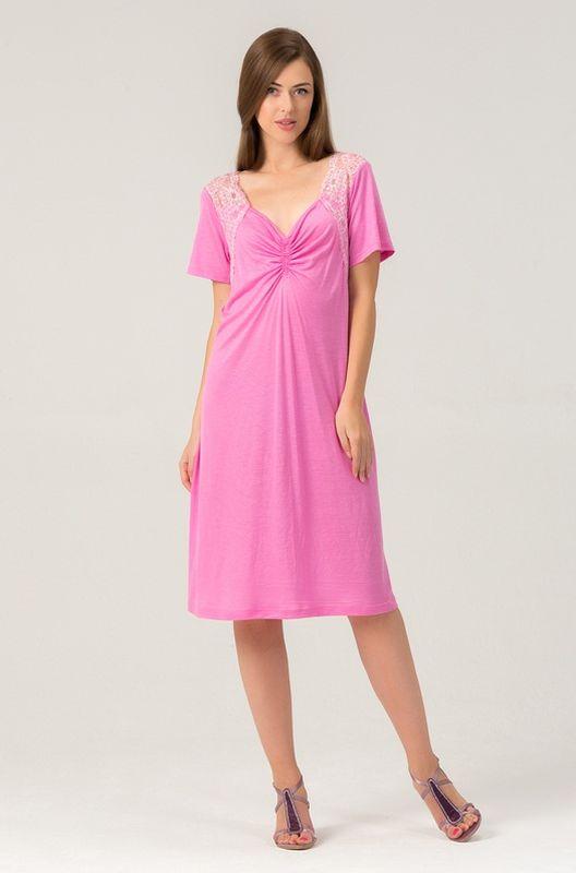 Сорочка женская Tesoro, цвет: пион. 456С1. Размер 56456С1Женская ночная сорочка из нежной вискозы. Длина - чуть ниже колена. Вставки мягкого кружева.