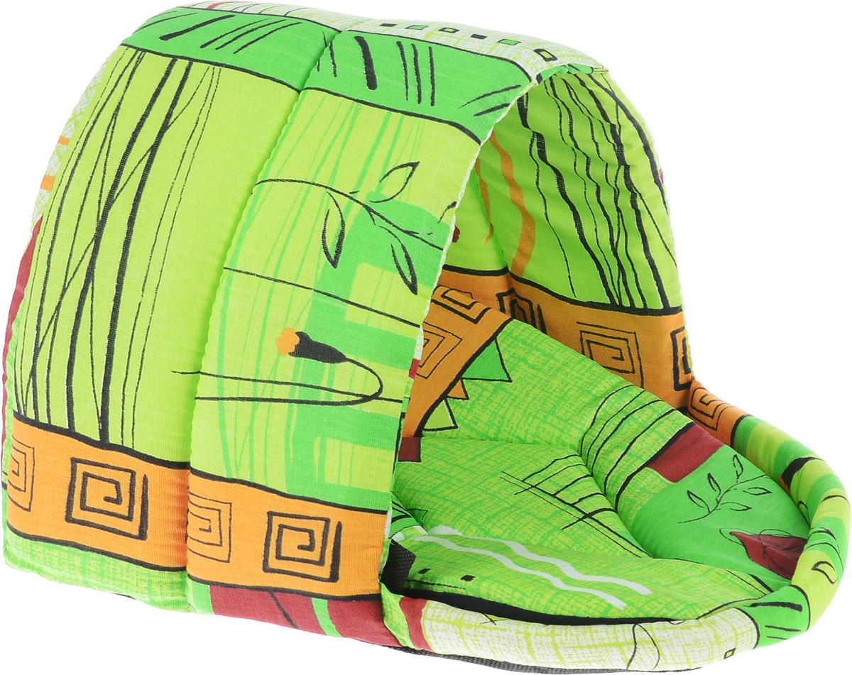 Лежак для животных Elite Valley Люлька, цвет: зеленый, оранжевый, черный, 30 х 24 х 24 смЛ11/1 Лежак полузакрытый люлька _ стамбул зеленый, материал бязь, поролонЛежак Elite Valley Люлька непременно станет любимым местом отдыха вашего домашнего животного. Изделие выполнено из бязи и нетканого материала, а наполнитель - из поролона. Такой материал не теряет своей формы долгое время. Внутри имеется мягкая съемная подстилка.На таком лежаке вашему любимцу будет мягко и тепло. Он подарит вашему питомцу ощущение уюта и уединенности, а также возможность спрятаться.