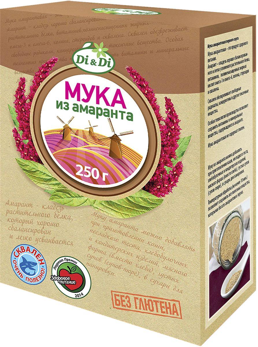 Di&Di Мука амарантовая первого сорта, 250 г4606938004798Амарантовая мука обладает высокой пищевой ценностью и уникальным биохимическим составом (в частности, по содержанию незаменимых аминокислот, мощных антиоксидантов и минеральных веществ мука, полученная из зерен амаранта, во много раз превосходит большинство традиционно выращиваемых в России злаковых культур - пшеницу, рис, сою, кукурузу и др.). В зернах амаранта содержится до 16% белка (состоящего более чем на 30% из незаменимых аминокислот), до 15% жиров (50% из которых приходится на долю полиненасыщенной жирной кислоты Омега-6), и около 9-11% пищевых волокон (клетчатки). В составе амарантовых семян также весьма высоко содержание витаминов (Е , А, B1, B2, B4 (холин), С, D), весьма важных для организма человека макро- и микроэлементов (железо, калий, кальций, фосфор, магний, медь и др.), а также других биологически активных веществ, определяющих разнообразные лечебно-профилактические свойства амарантовой муки (сквален, фитостеролы, фосфолипиды и др.).