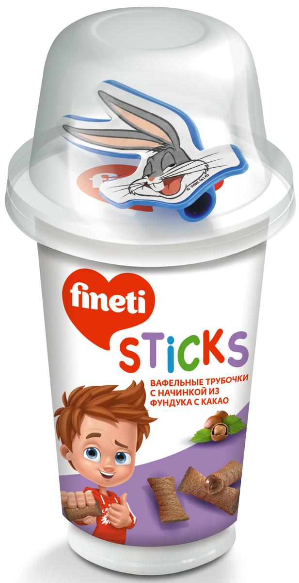 Fineti Sticks Вафельные трубочки с начинкой из фундука с какао, 45 г twisties вафельные трубочки с кофейным кремом эспрессо 400 г