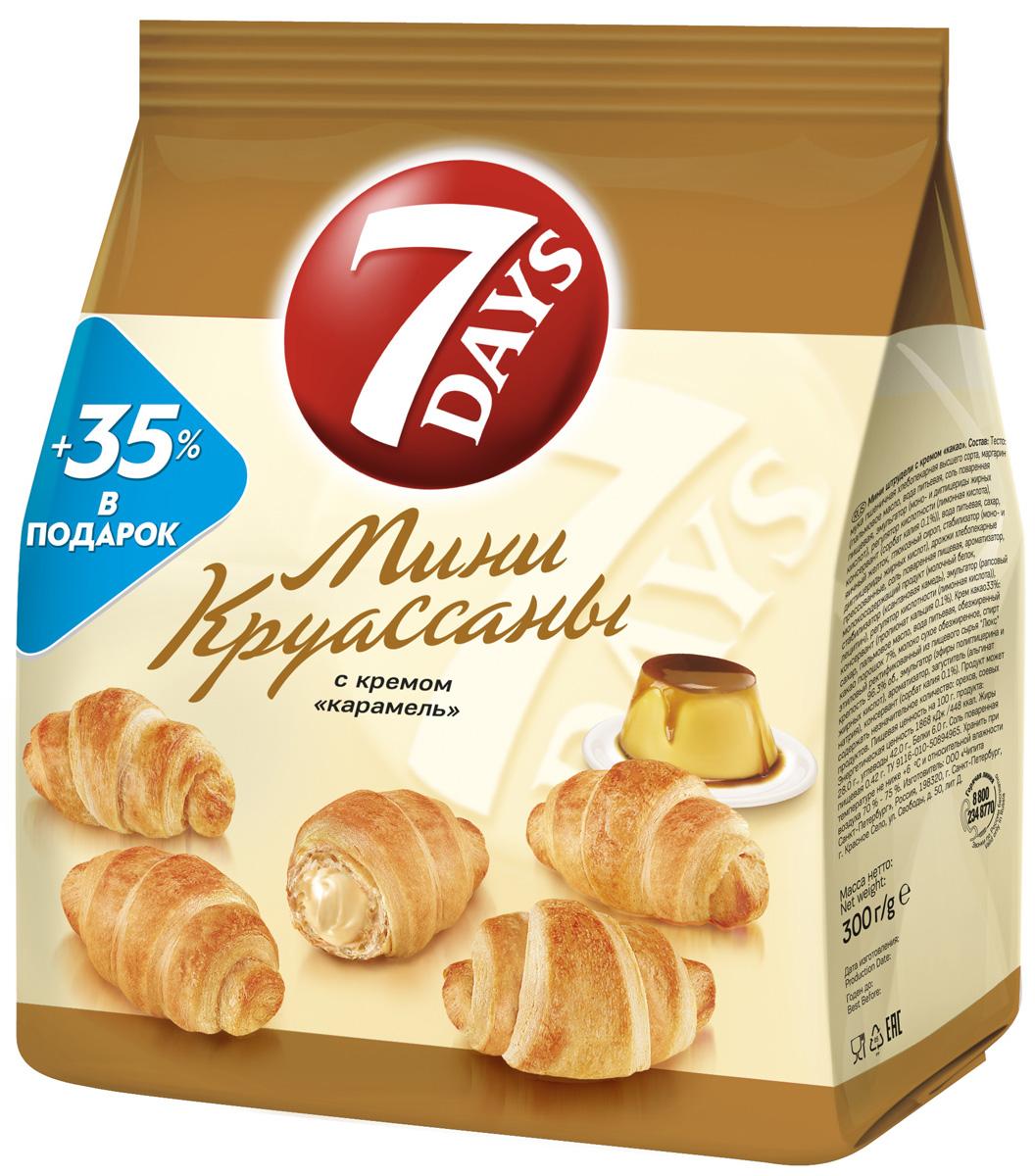 7DAYS Мини-круассаны с кремом Карамель, 300 г 7days рулет бисквитный с кремом со вкусом капучино 300 г
