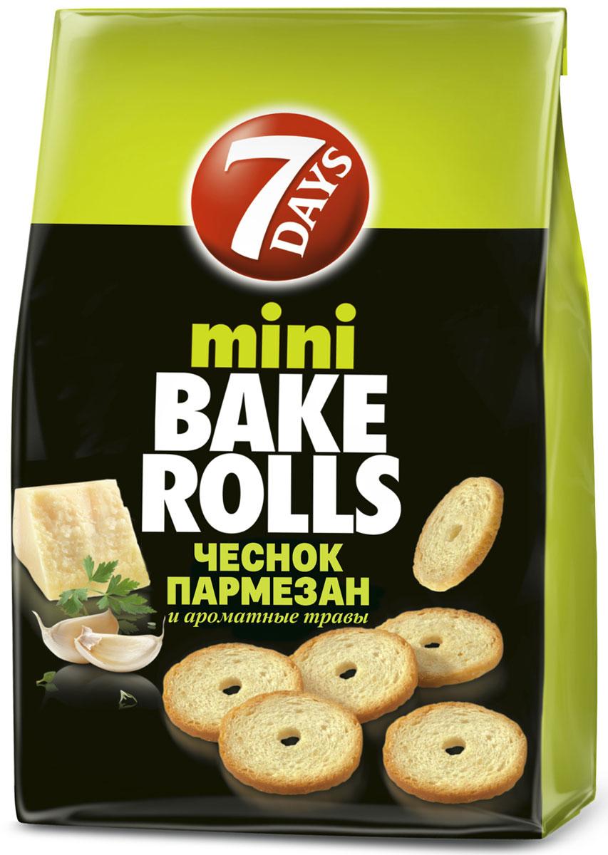 7DAYS Bake Rolls Мини-cухарики Чеснок пармезан и ароматные травы, 80 г 7days рулет бисквитный с кремом со вкусом капучино 300 г