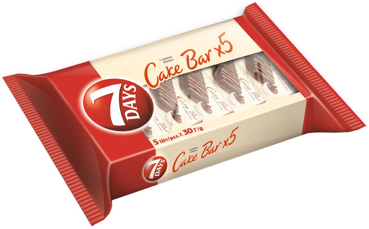 """7DAYS Cake Bar Пирожное бисквитное с кремом """"какао"""", 5 шт по 30 г"""