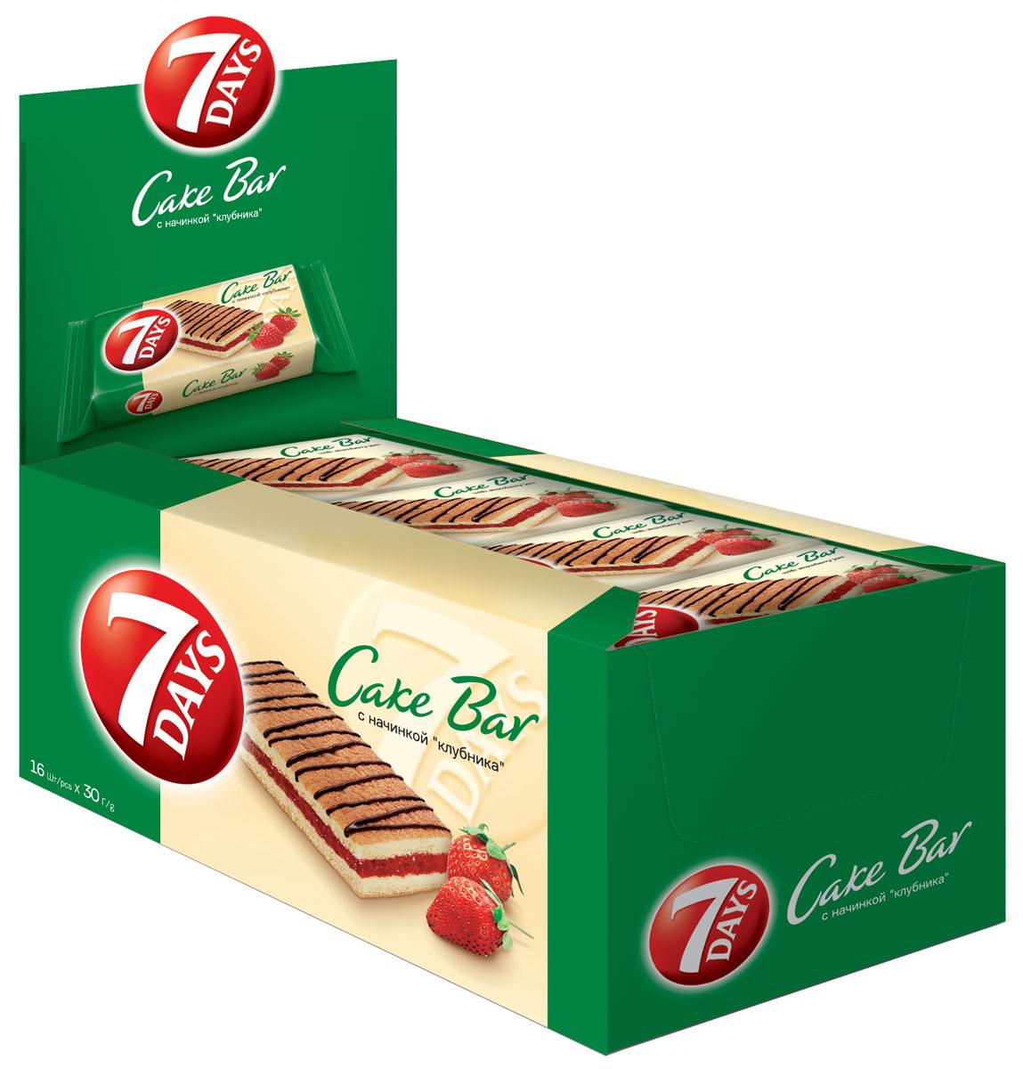 7DAYS Cake Bar Пирожное с начинкой Клубника, 16 шт по 30 г5 201360 79655 7Пирожные 7DAYS Кейк Бар - это индивидуально упакованные бисквитные пирожные, представленные ассортиментом наиболее популярных вкусов. Восхитительный снэк для всей семьи, которым можно насладиться в течение всего дня.