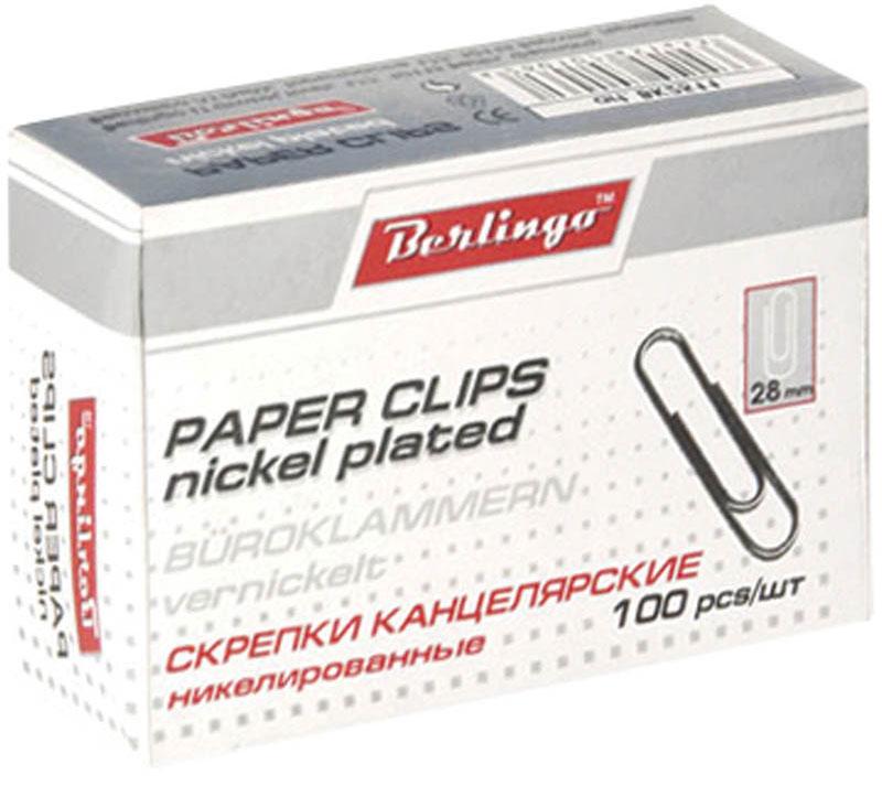 Berlingo Скрепки никелированные 28 мм 100 шт BK2511BK2511Никелированные канцелярские скрепки Berlingo стандартной круглой формы. Не ржавеют, не пачкают бумагу, обеспечивают надежное скрепление.В упаковке 100 штук.