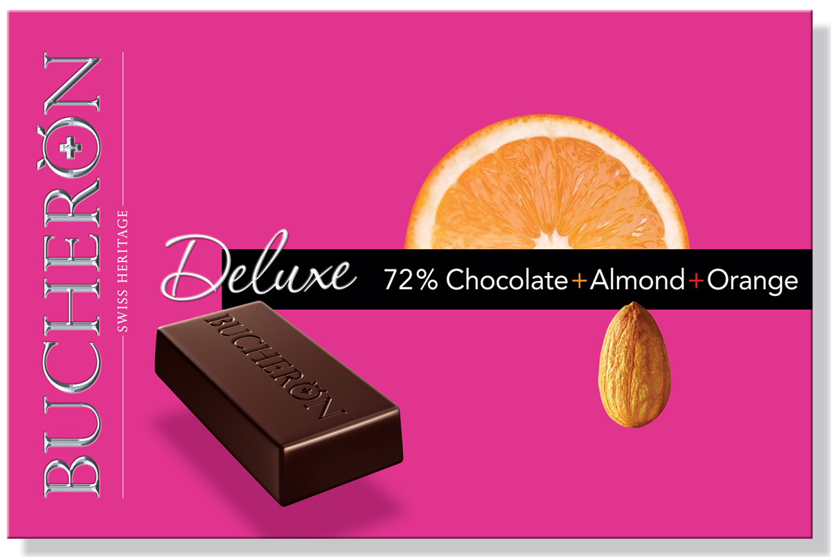 Bucheron Deluxe горький шоколад с миндалем и апельсином, 95 г ювелирные шармы amore&baci серебряный шарм с прозрачными фианитами сердце