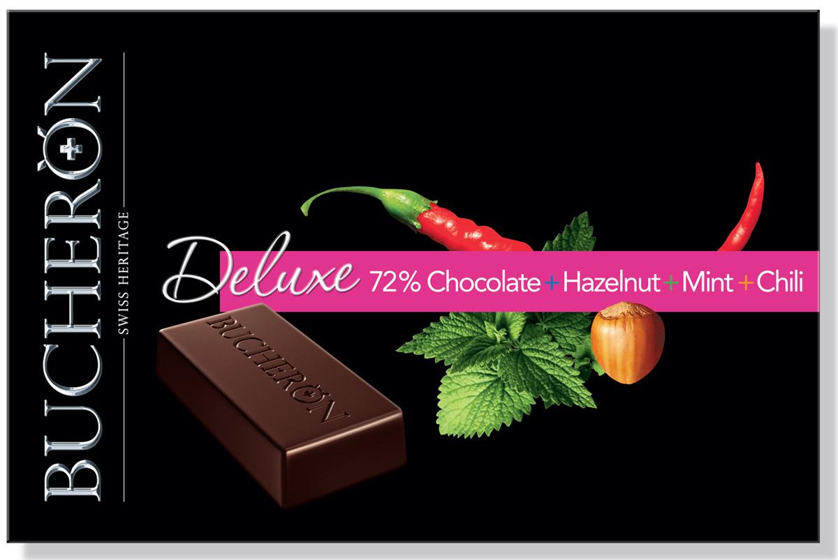 Bucheron Deluxe горький шоколад с фундуком, мятой и кайенским перцем, 95 г bucheron mini шоколад горький с фундуком мятой и кайенским перцем 171 г