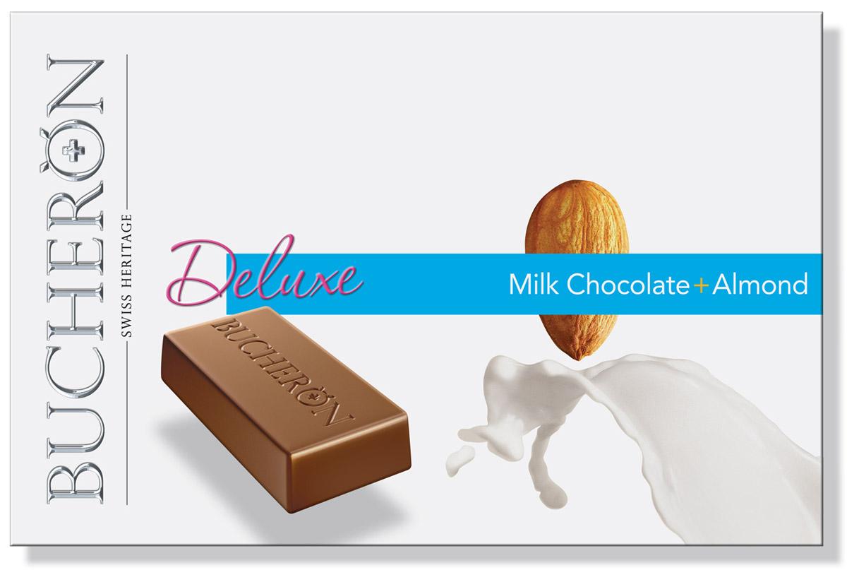 Bucheron Deluxe молочный шоколад с миндалем, 95 г14.3998Молочный шоколад, приготовленный из мадагаскарских какао-бобов, имеет особый сливочный вкус, который превосходно дополняет калифорнийский миндаль.