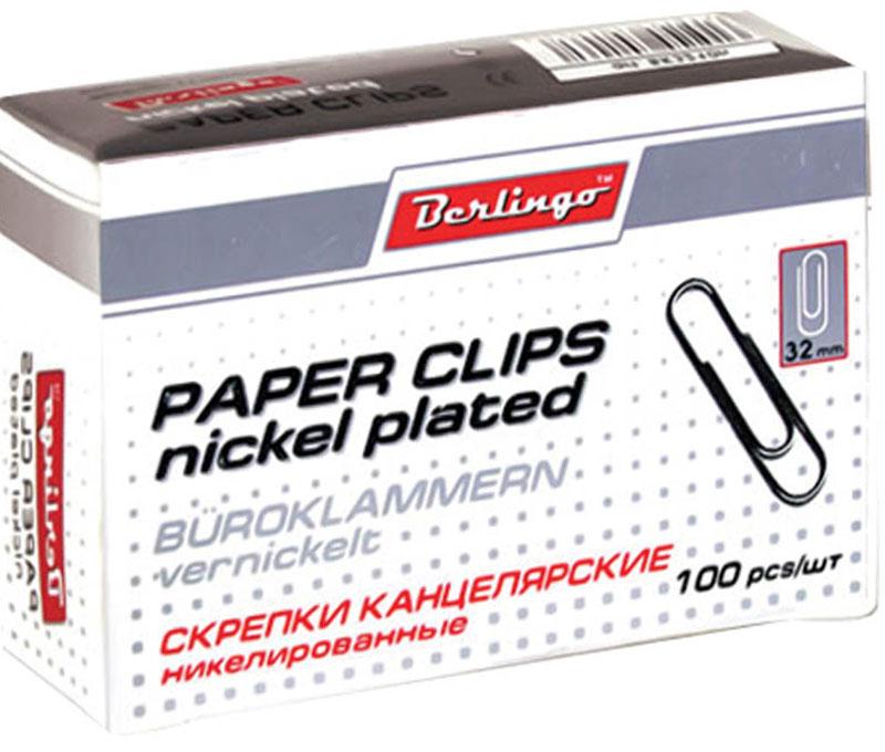 Berlingo Скрепки никелированные 32 мм 100 штBK2512Никелированные канцелярские скрепки Berlingo стандартной круглой формы. Не ржавеют, не пачкают бумагу, обеспечивают надежное скрепление.В упаковке 100 штук.