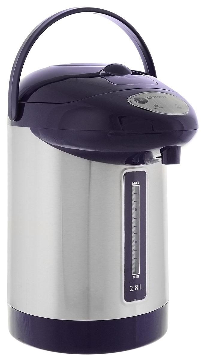 Lumme LU-295, Dark Blue термопотLU-2952,8-литровый термопот Lumme LU-295 с ручным насосом для безопасной подачи кипятка.Два режима работы – автокипячение и поддержание температуры позволяют использовать термопот с наименьшими энергозатратами, при этом теплая вода или кипяток остаются всегда под рукой.Благодаря корпусу из высококачественной пищевой нержавеющей стали и закрытому нагревательному элементу термопот обладает значительной прочностью и экологически чист - нержавеющая сталь не имеет запаха и сохраняет природные натуральные свойства воды.Шкала уровня воды на корпусе позволяет легко определить необходимость наполнения термопота водой, а LED-индикаторы режимов работы – проконтролировать его состояние.Термопот оснащен такими функциями безопасности как автоматическое отключение при закипании и отключение при недостаточном количестве воды.Плоское дно термопота с закрытым нагревательным элементом очень функционально – легко моется, противостоит накипи, не ржавеет, не подвержено коррозии, а значит, обеспечивает термопоту максимально долгий срок службы.