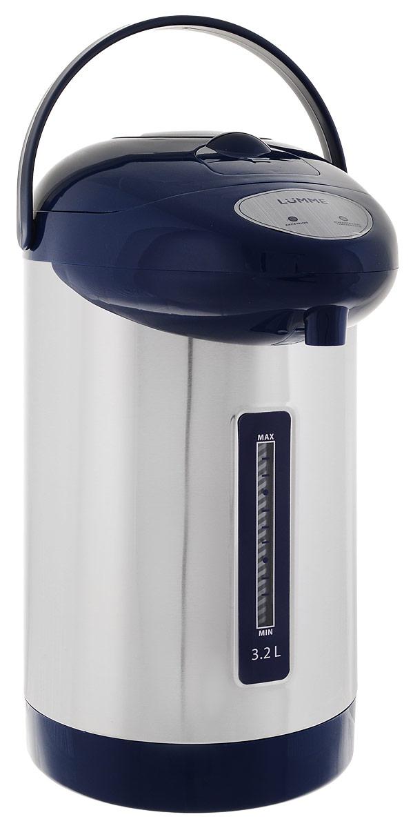 Lumme LU-296, Blue термопотLU-2963,2-литровый термопот Lumme LU-296 с ручным насосом для безопасной подачи кипятка.Два режима работы – автокипячение и поддержание температуры позволяют использовать термопот с наименьшими энергозатратами, при этом теплая вода или кипяток остаются всегда под рукой.Благодаря корпусу из высококачественной пищевой нержавеющей стали и закрытому нагревательному элементу термопот обладает значительной прочностью и экологически чист - нержавеющая сталь не имеет запаха и сохраняет природные натуральные свойства воды.Шкала уровня воды на корпусе позволяет легко определить необходимость наполнения термопота водой, а LED-индикаторы режимов работы – проконтролировать его состояние.Термопот оснащен такими функциями безопасности как автоматическое отключение при закипании и отключение при недостаточном количестве воды.Плоское дно термопота с закрытым нагревательным элементом очень функционально – легко моется, противостоит накипи, не ржавеет, не подвержено коррозии, а значит, обеспечивает термопоту максимально долгий срок службы.