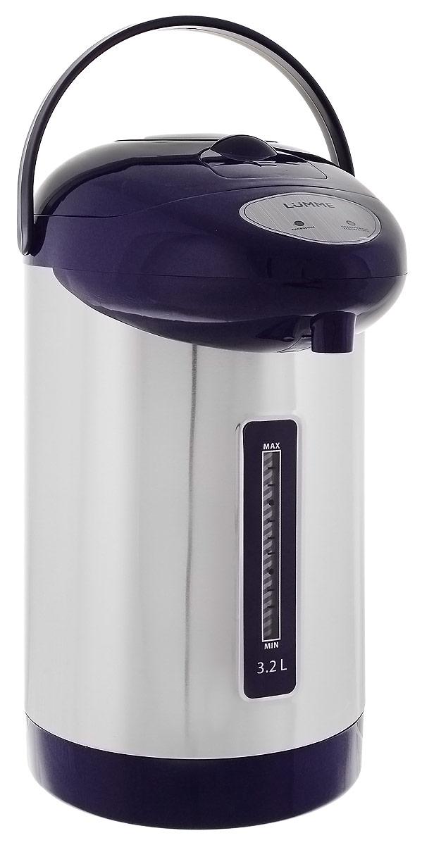 Lumme LU-298, Dark Blue термопотLU-2983,2-литровый термопот Lumme LU-298 с ручным насосом для безопасной подачи кипятка и функцией повторного кипячения.Два режима работы – автокипячение и поддержание температуры позволяют использовать термопот с наименьшими энергозатратами, при этом теплая вода или кипяток остаются всегда под рукой.Благодаря корпусу из высококачественной пищевой нержавеющей стали и закрытому нагревательному элементу термопот обладает значительной прочностью и экологически чист - нержавеющая сталь не имеет запаха и сохраняет природные натуральные свойства воды. Шкала уровня воды на корпусе позволяет легко определить необходимость наполнения термопота водой, а LED-индикаторы режимов работы – проконтролировать его состояние.Термопот оснащен такими функциями безопасности как автоматическое отключение при закипании и отключение при недостаточном количестве воды.Плоское дно термопота с закрытым нагревательным элементом очень функционально – легко моется, противостоит накипи, не ржавеет, не подвержено коррозии, а значит, обеспечивает термопоту максимально долгий срок службы.