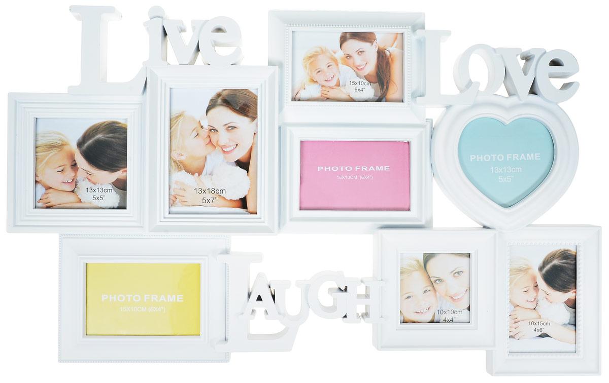 Мультирамка Image Art, на 8 фотографий. PL26-8Image Art PL26-8Мультирамка для фотографий Image Art выполнена из прочного пластика. Рамка состоит из 12 горизонтальных и вертикальных рамок, которые соединены между собой и каждая из которых защищена стеклом. Рамку можно повесит на стену. Такая рамка не только позволит сохранить на память изображения дорогих вам людей и интересных событий вашей жизни, но и стильно украсит интерьер помещения. Общий размер рамки: 75 х 44 х 4 см.Размер фотографий: 15 х 10 см х 3 (4 шт.), 10 х 10 см (1 шт.), 13 х 13 см (1 шт.), 13 х 13 см (в форме сердца, 1 шт.), 13 х 18 см (1 шт.).