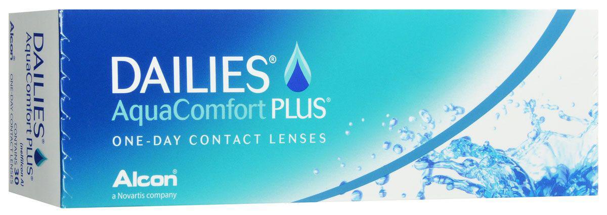 Alcon-CIBA Vision контактные линзы Dailies AquaComfort Plus (30шт / 8.7 / 14.0 / -4.50)38455Dailies AquaComfort Plus - это одни из самых популярных однодневных линз производства компании Ciba Vision. Эти линзы пользуются огромной популярностью во всем мире и являются на сегодняшний день самыми безопасными контактными линзами. Изготавливаются линзы из современного, 100% безопасного материала нелфилкон А. Особенность этого материала в том, что он легко пропускает воздух и хорошо сохраняет влагу. Однодневные контактные линзы Dailies AquaComfort Plus не нуждаются в дополнительном уходе и затратах, каждый день вы надеваете свежую пару линз. Дизайн линзы биосовместимый, что гарантирует безупречный комфорт. Самое главное достоинство Dailies AquaComfort Plus - это их уникальная система увлажнения. Благодаря этой разработке линзы увлажняются тремя различными агентами. Первый компонент, ухаживающий за линзами, находится в растворе, он как бы обволакивает линзу, обеспечивая чрезвычайно комфортное надевание. Второй агент выделяется на протяжении всего дня, он непрерывно смачивает линзы. Третий - увлажняющий агент, выделяется во время моргания, благодаря ему поддерживается постоянный комфорт. Также линзы имеют УФ-фильтр, который будет заботиться о ваших глазах. Dailies AquaComfort Plus одни из лучших линз в своей категории. Всемирно известная компания Ciba Vision, создавая эти контактные линзы, попыталась учесть все потребности пациентов и ей это удалось! Характеристики:Материал: нелфилкон А. Кривизна: 8.7. Оптическая сила: - 4.50. Содержание воды: 69%. Диаметр: 14 мм. Количество линз: 30 шт. Размер упаковки: 15,5 см х 5 см х 3 см. Производитель: США. Товар сертифицирован.Контактные линзы или очки: советы офтальмологов. Статья OZON Гид