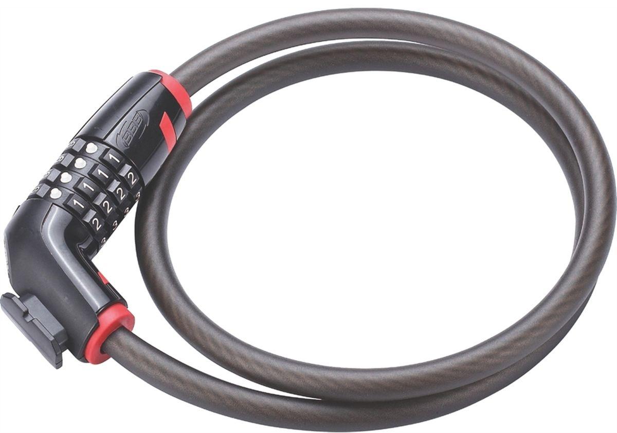 Замок велосипедный BBB CodeLock, цвет: черный, красный, 12 мм x 1 м
