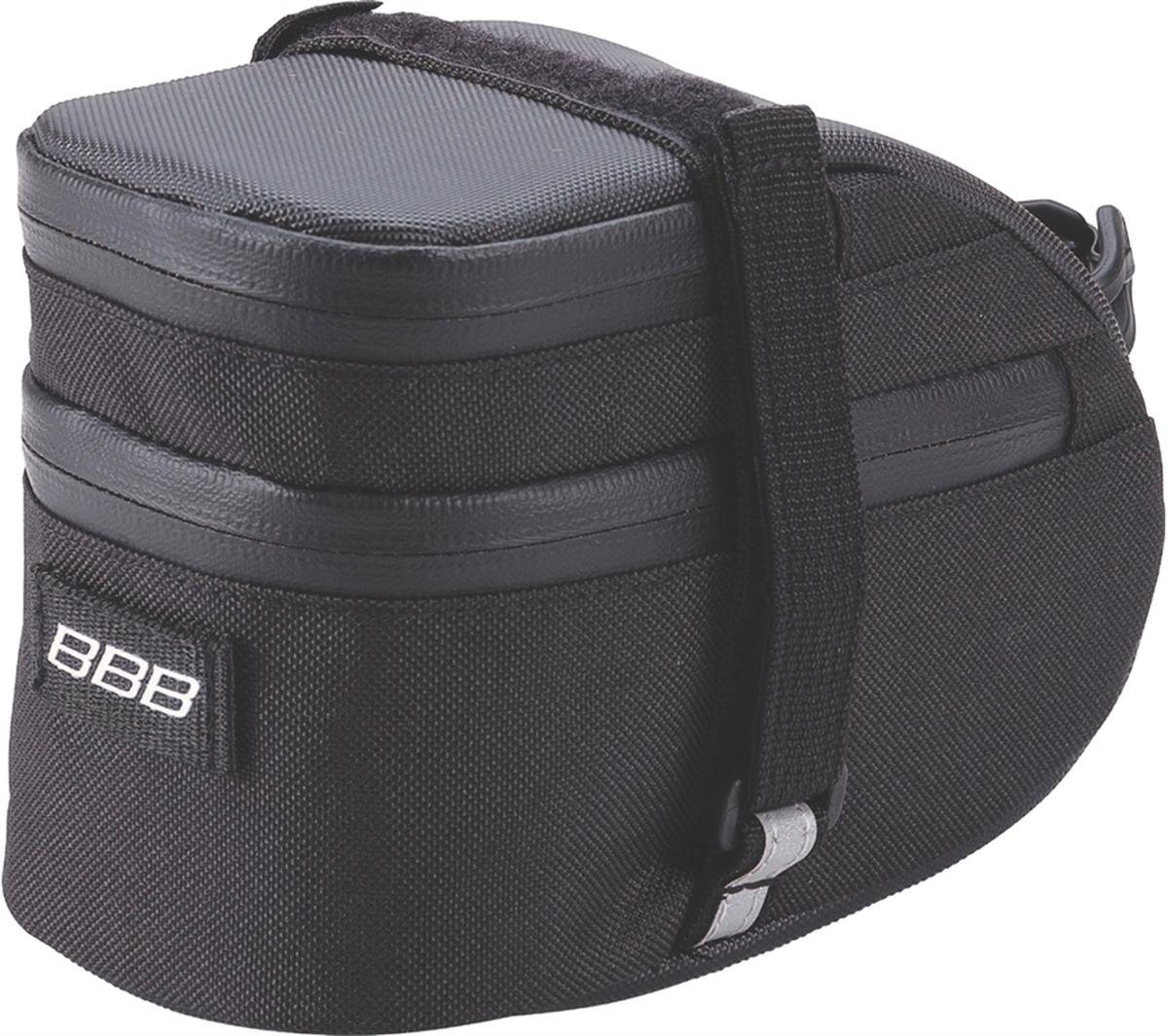 Велосумка под седло BBB EasyPack, цвет: черный. Размер LBSB-31LВ технологичной подседельной сумке BBB EasyPack применяются лучшие материалы и новейшие технологии. Синяя подкладка обеспечивает лучшую видимость содержимого. Эластичный ремешок и карман для простоты организации содержимого вашей сумочки . Водонепроницаемая молния с фиксатором дает дополнительную безопасность и абсолютно бесшумна при езде. Крепление для заднего габарита-LED фонарика. Черная светоотражающая полоска обеспечивает лучшую видимость вас на дороге. Двойная застежка на липучке помогает просто и быстро установить/снять сумку. Резиновый ремешок крепления к подседельному штырю для надежной фиксации сумочки и во избежание повреждений лайкровых шорт и подседельного штыря. Большая сумка разделена на два отсека. Верхний отсек отлично подходит для хранения кошелька, ключей, или документов.