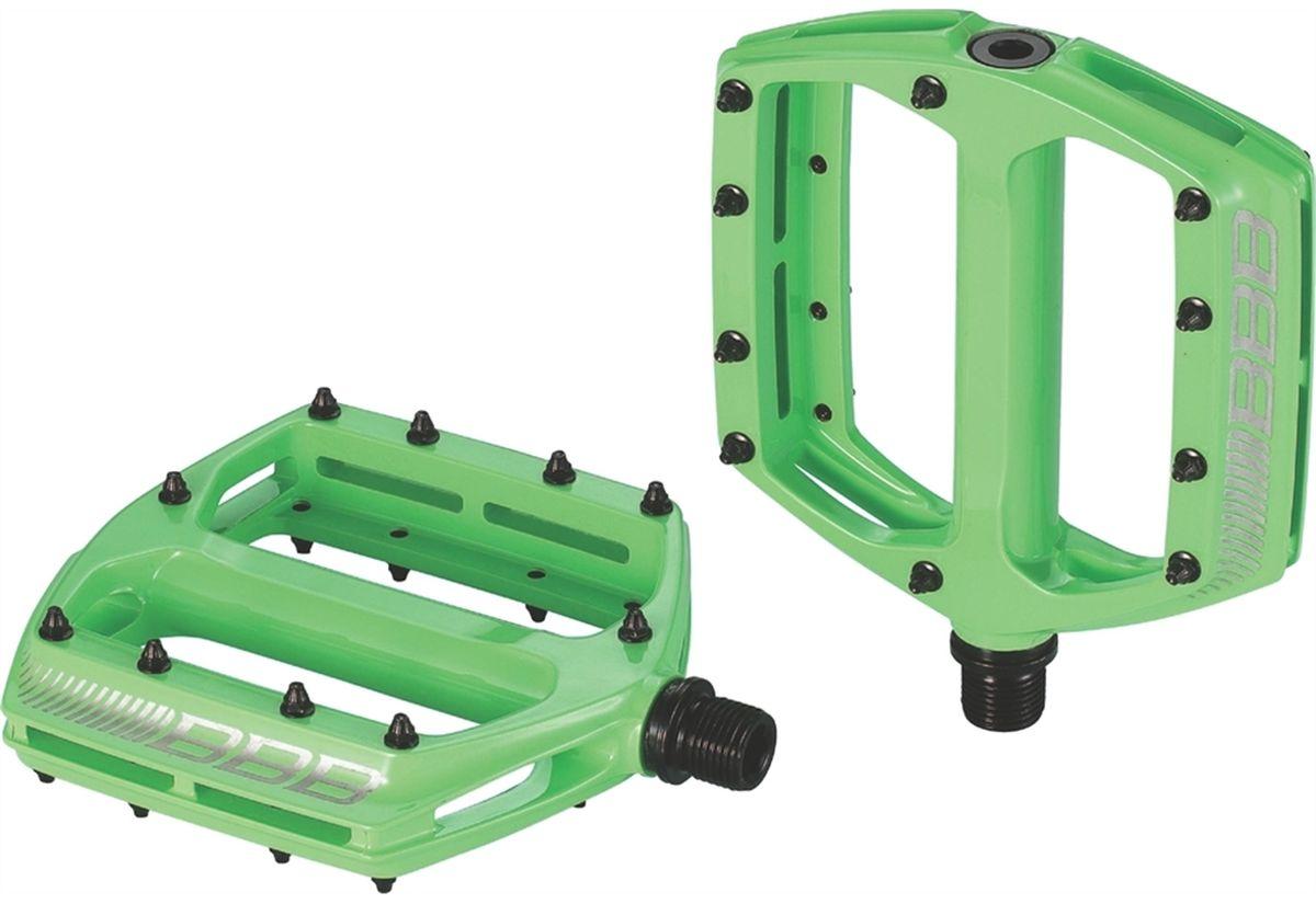 Педали BBB CoolRide MTB, цвет: зеленый, 2 штBPD-36Большая площадь опоры педалей BBB CoolRide MTB обеспечивает надежное сцепление и контроль. Монолитный алюминиевый корпус обеспечивает педалям долгий срок эксплуатации. Ось выполнена из хроммолибденовой стали. Двойные закрытые подшипники. Педали имеют сменные пины, 10 штук с каждой стороны.