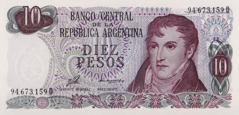 Банкнота номиналом 10 песо. Аргентина, 1976 год