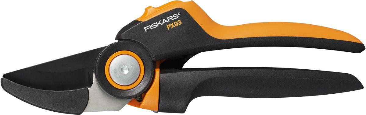 Секатор контактный Fiskars PowerGear L PX931023629Контактный секатор Fiskars PowerGear L PX93 представляет собой ручной садовый инструмент для подрезания веток и кустов. Изделие обладает механизмом блокировки и механизмом силового привода. Секатор подходит для большой руки. Одно лезвие изготовлено из нержавеющей стали с тефлоновым покрытием, а второе из материала FiberComp. Удобные для работы рукоятки изготовлены из материала FiberComp с амортизирующим покрытием верхней части SoftGrip. Максимальный диаметр реза: 26 мм. Общая длина: 21,5 см.