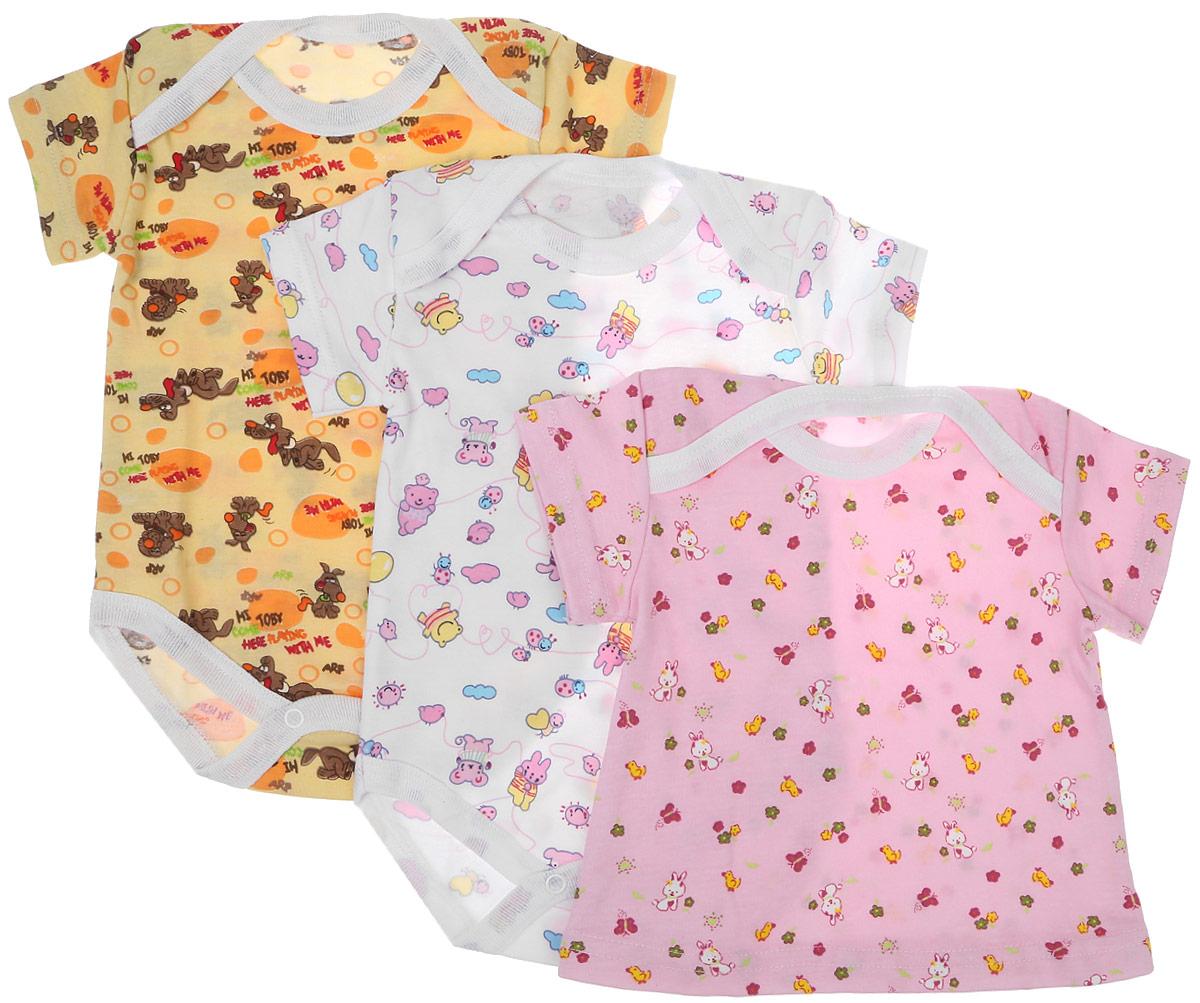 Боди для девочки Фреш Стайл, цвет: белый, розовый, желтый, 3 шт. 33-315д. Размер 74