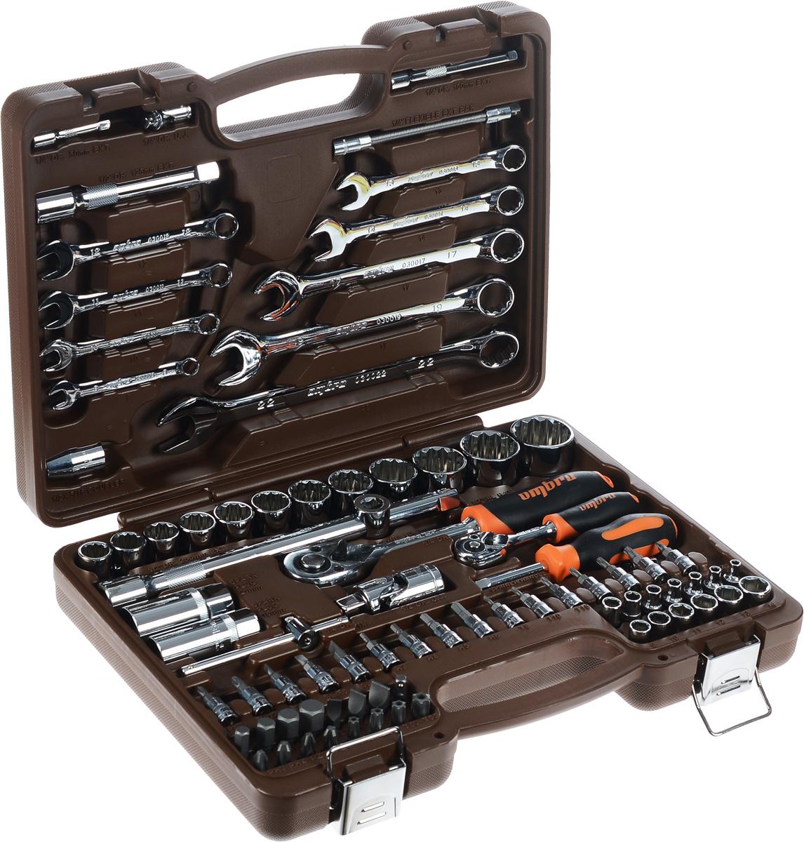 Набор инструментов Ombra, 82 предмета. OMT82S12OMT82S12Набор инструментов Ombra состоит из 82 предметов и предназначен для монтажа/демонтажа резьбовых соединений. Предметы набора выполнены из высококачественной стали. Инструменты соответствуют высоким стандартам качества, поэтому подойдут как для использования на бытовом уровне, так и для применения в профессиональной сфере.Состав набора:1/4:Головки шестигранные: 4 мм, 4,5 мм, 5 мм, 5,5 мм, 6 мм, 7 мм, 8 мм, 9 мм, 10 мм, 11 мм, 12 мм, 13 мм, 14 мм.Головки со вставками: H3, H4, H5, H6, T8, T10, T15, T20, T25, T30, SL4, SL5,5, SL7, PH1, PH2, PZ1, PZ2.Трещоточная рукоятка.Т-образный вороток.Удлинитель: 50 мм, 100 мм.Карданный шарнир.Гибкий удлинитель.Отверточная рукоятка.Адаптер для бит.1/2:Двенадцатигранные головки: 14 мм, 15 мм, 16 мм, 17 мм, 18 мм, 19 мм, 21 мм, 22 мм, 24 мм, 27 мм, 30 мм, 32 мм.Биты 5/16, 30 мм: H8, H10, H12, H14, T40, T45, T50, T55, SL8, SL10, SL12, PH3, PH4, PZ3, PZ4.Карданный шарнир.Удлинитель: 125 мм, 250 мм.Трещоточная рукоятка.Головки свечные: 16 мм, 21 мм.Держатель для бит: 1/2DR x 5/16.Адаптер для удлинителя.Комбинированные ключи: 8 мм, 10 мм, 11 мм, 12 мм, 13 мм, 14 мм, 17 мм, 19 мм, 22 мм.